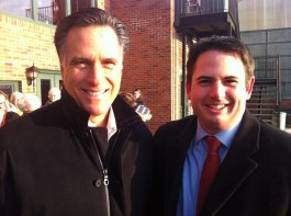 Joe and Gov. Mitt Romney following their interview in Muscatine, IA